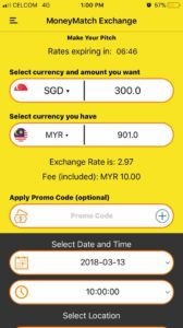 MoneyMatch Currency Exchange MYR to SGD