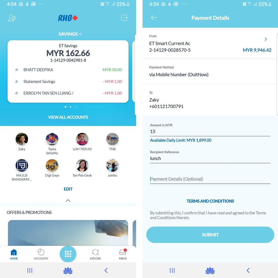 RHB New Mobile Banking App Screenshot