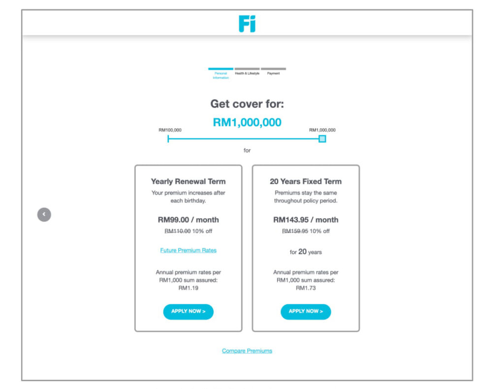 Fi Life's Product Selection Page